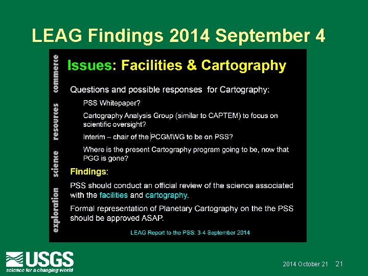 LEAG Findings 2014 September 4 2014 October 21