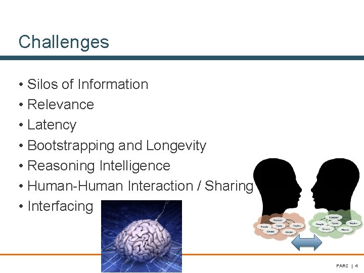 Challenges • Silos of Information • Relevance • Latency • Bootstrapping and Longevity •