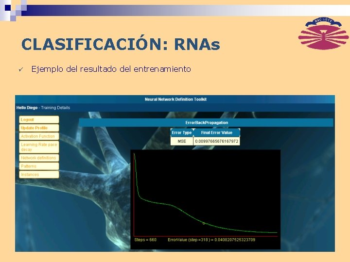 CLASIFICACIÓN: RNAs ü Ejemplo del resultado del entrenamiento