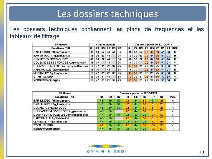 Les dossiers techniques contiennent les plans de fréquences et les tableaux de filtrage. 10