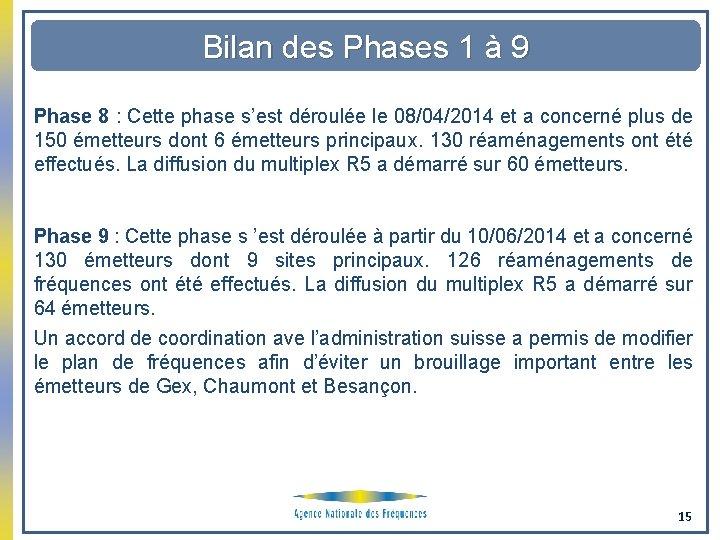 Bilan des Phases 1 à 9 Phase 8 : Cette phase s'est déroulée le