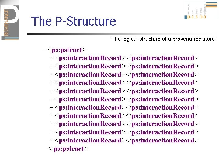 The P-Structure The logical structure of a provenance store