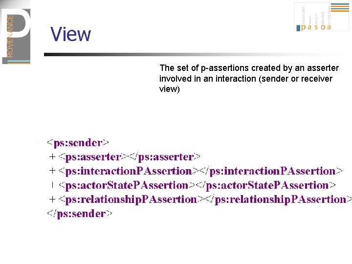 View The set of p-assertions created by an asserter involved in an interaction (sender