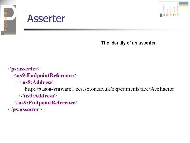 Asserter The identity of an asserter