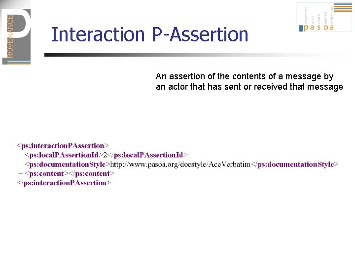 Interaction P-Assertion An assertion of the contents of a message by an actor that