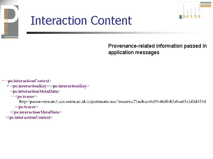 Interaction Content Provenance-related information passed in application messages