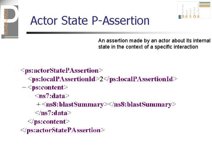 Actor State P-Assertion An assertion made by an actor about its internal state in