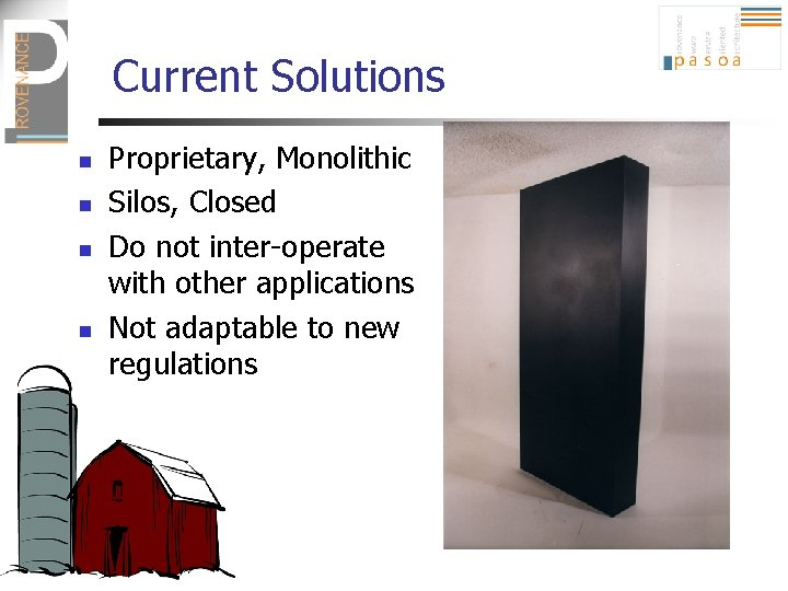 Current Solutions n n Proprietary, Monolithic Silos, Closed Do not inter-operate with other applications