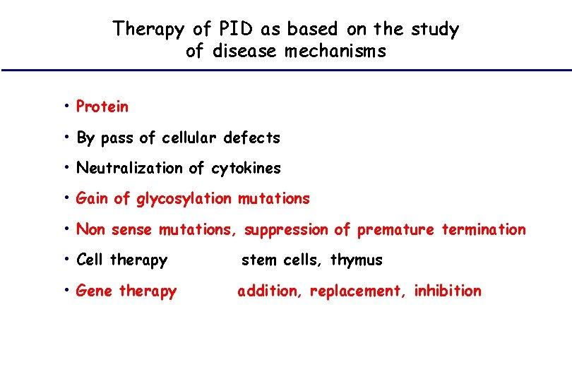 Therapy of PID as based on the study of disease mechanisms • Protein •