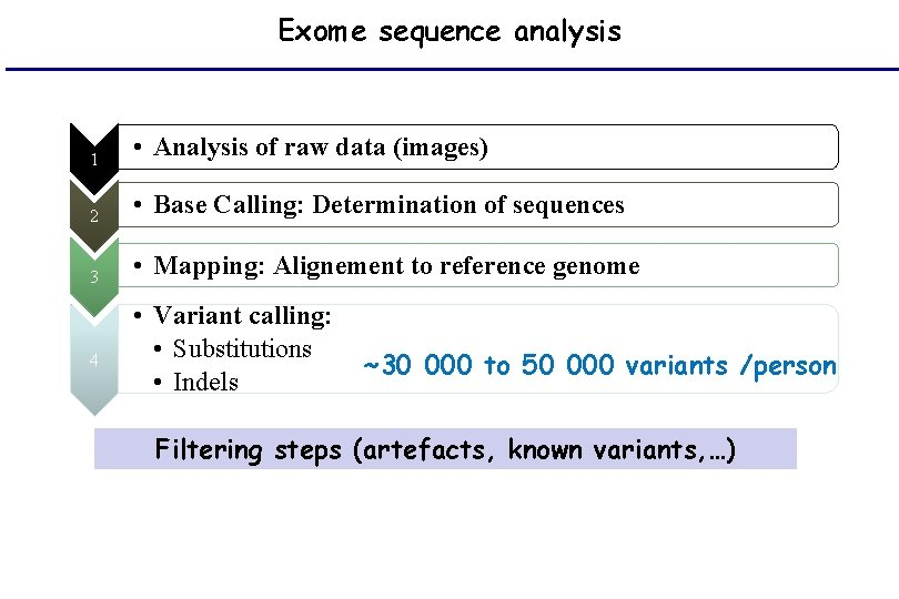 Exome sequence analysis 1 • Analysis of raw data (images) 2 • Base Calling: