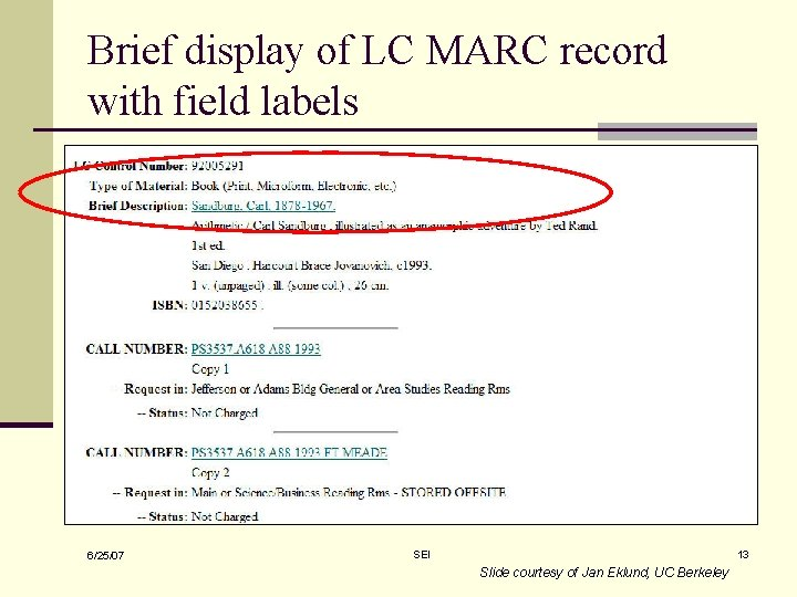 Brief display of LC MARC record with field labels 6/25/07 SEI 13 Slide courtesy