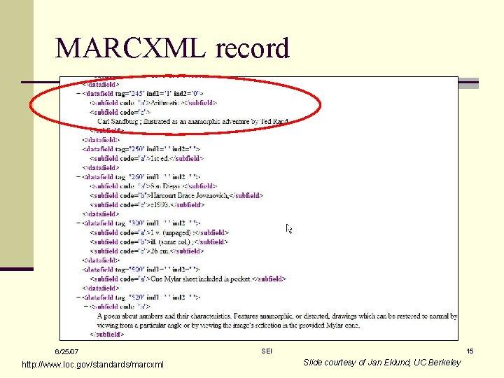 MARCXML record 6/25/07 http: //www. loc. gov/standards/marcxml SEI 15 Slide courtesy of Jan Eklund,