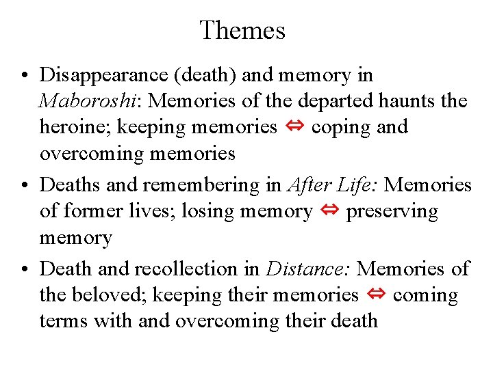 Themes • Disappearance (death) and memory in Maboroshi: Memories of the departed haunts the