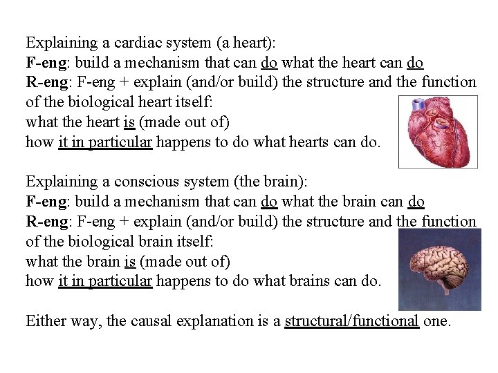 Explaining a cardiac system (a heart): F-eng: build a mechanism that can do what