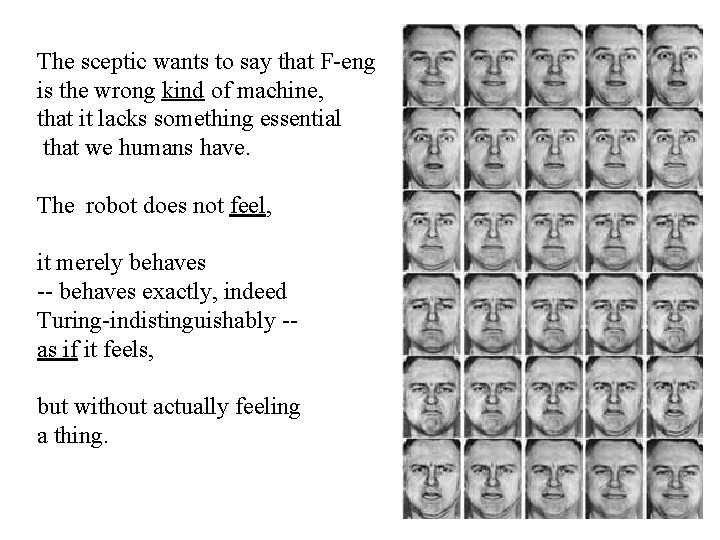 The sceptic wants to say that F-eng is the wrong kind of machine, that