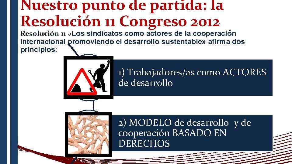 Nuestro punto de partida: la Resolución 11 Congreso 2012 Resolución 11 «Los sindicatos como