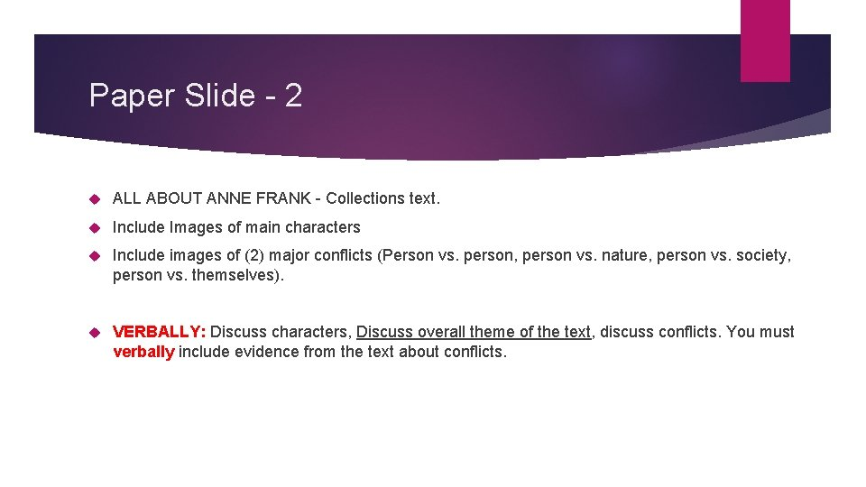 Paper Slide - 2 ALL ABOUT ANNE FRANK - Collections text. Include Images of