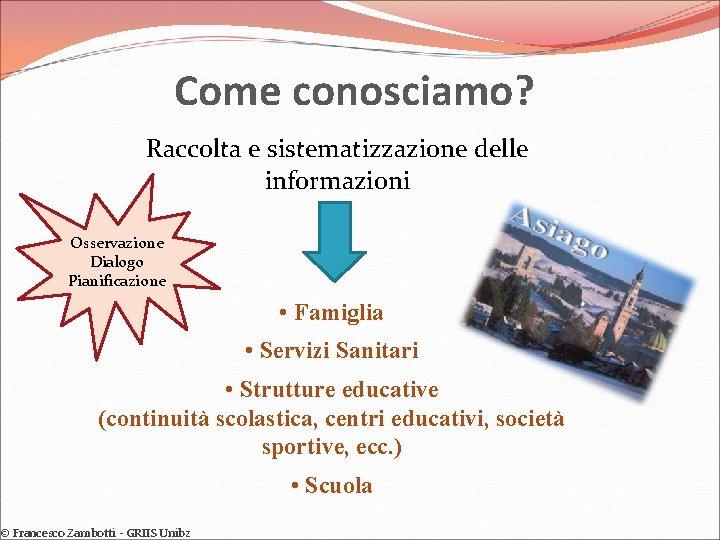 Come conosciamo? Raccolta e sistematizzazione delle informazioni Osservazione Dialogo Pianificazione • Famiglia • Servizi