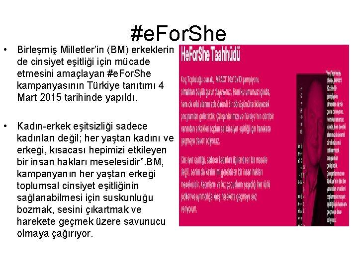 #e. For. She • Birleşmiş Milletler'in (BM) erkeklerin de cinsiyet eşitliği için mücade etmesini