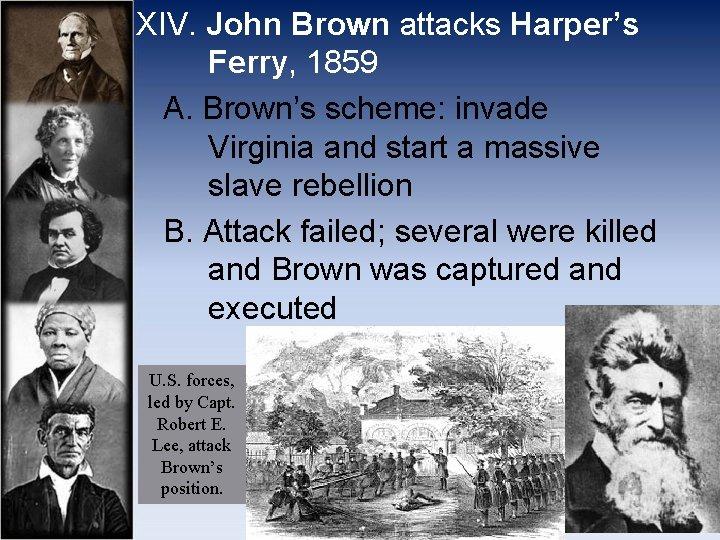 XIV. John Brown attacks Harper's Ferry, 1859 A. Brown's scheme: invade Virginia and start