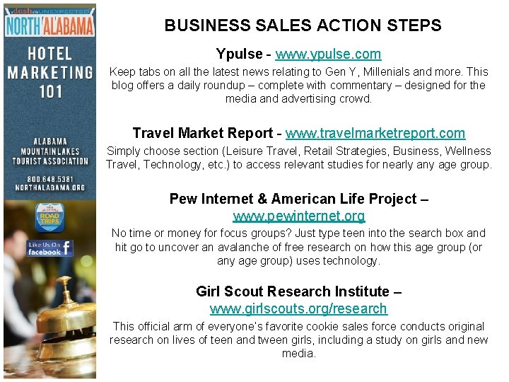 BUSINESS SALES ACTION STEPS Ypulse - www. ypulse. com Keep tabs on all the