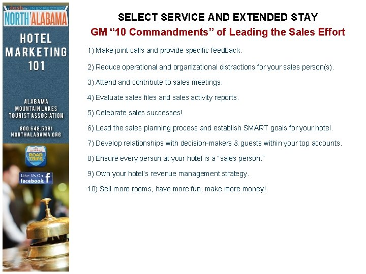 """SELECT SERVICE AND EXTENDED STAY GM """" 10 Commandments"""" of Leading the Sales Effort"""
