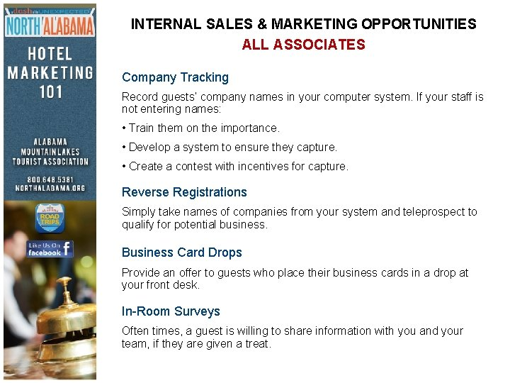 INTERNAL SALES & MARKETING OPPORTUNITIES ALL ASSOCIATES Company Tracking Record guests' company names in