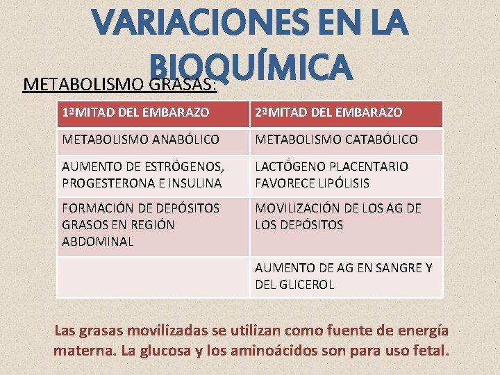 VARIACIONES EN LA BIOQUÍMICA METABOLISMO GRASAS: 1ªMITAD DEL EMBARAZO 2ªMITAD DEL EMBARAZO METABOLISMO ANABÓLICO