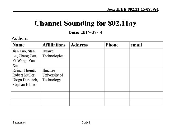 doc. : IEEE 802. 11 -15/0879 r 1 Channel Sounding for 802. 11 ay