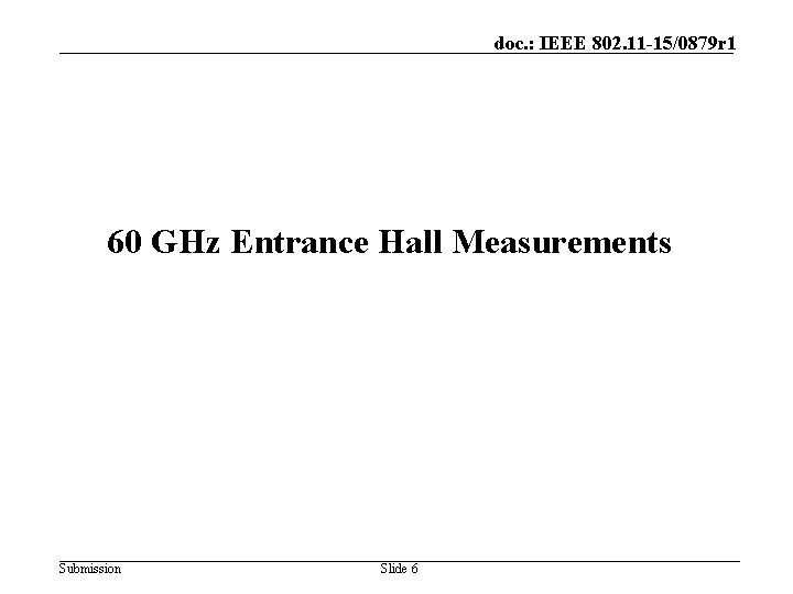 doc. : IEEE 802. 11 -15/0879 r 1 60 GHz Entrance Hall Measurements Submission