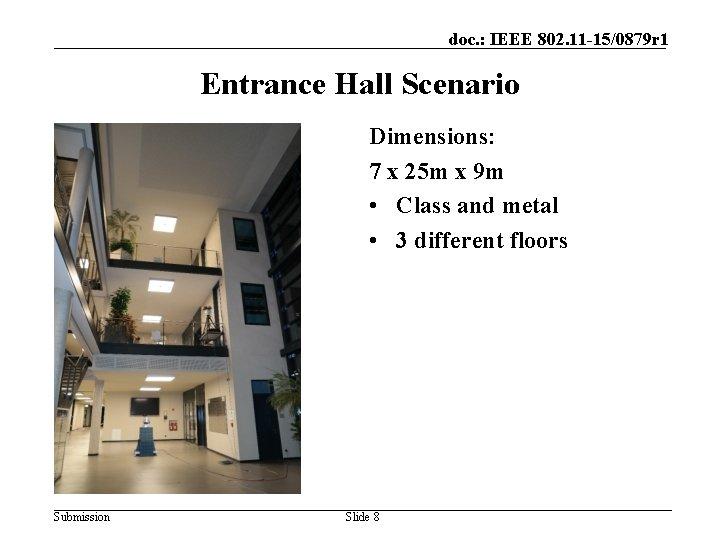 doc. : IEEE 802. 11 -15/0879 r 1 Entrance Hall Scenario Dimensions: 7 x