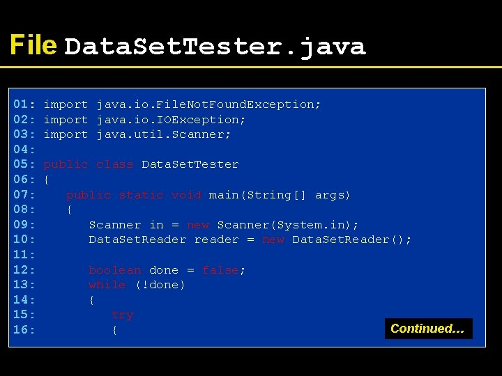 File Data. Set. Tester. java 01: import java. io. File. Not. Found. Exception; 02: