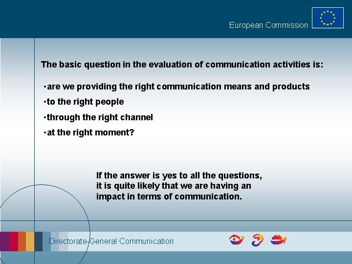 European Commission The basic question in the evaluation of communication activities is: • are