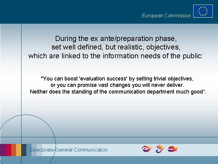European Commission During the ex ante/preparation phase, set well defined, but realistic, objectives, which