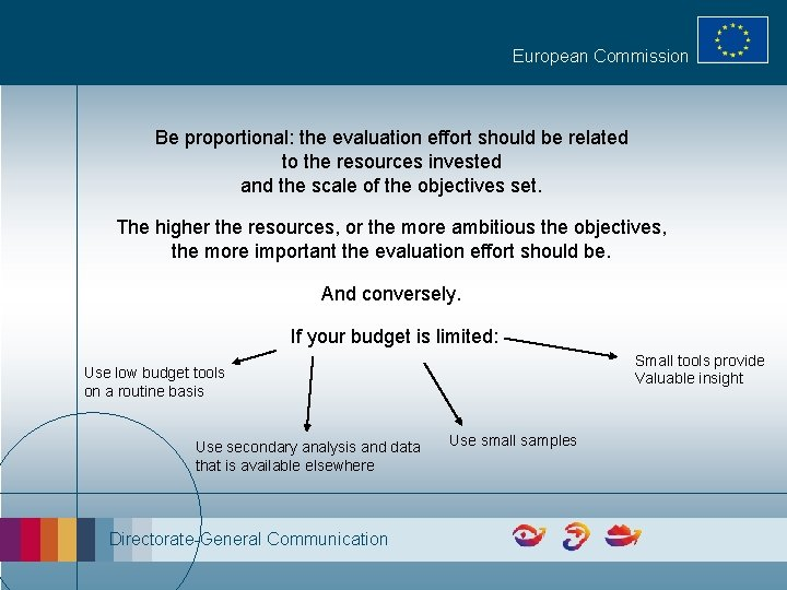 European Commission Be proportional: the evaluation effort should be related to the resources invested