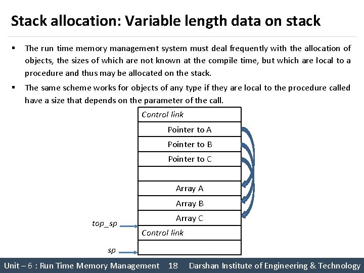 Stack allocation: Variable length data on stack § The run time memory management system