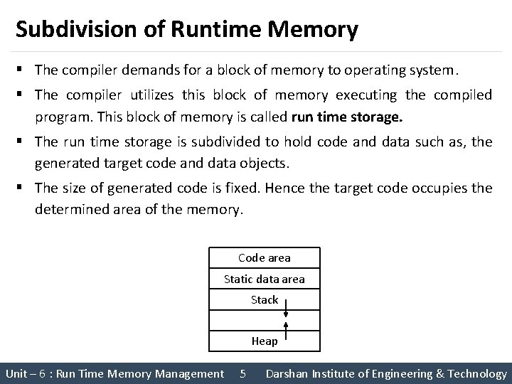 Subdivision of Runtime Memory § The compiler demands for a block of memory to