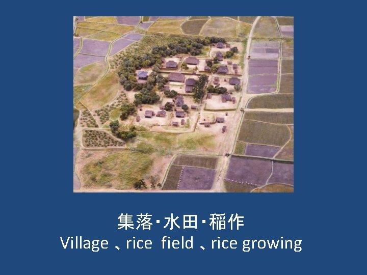 集落・水田・稲作 Village 、rice field 、rice growing