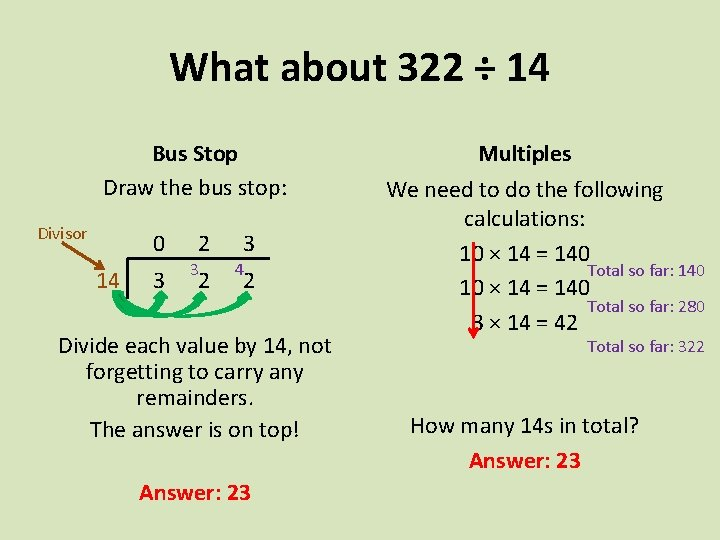 What about 322 ÷ 14 Bus Stop Draw the bus stop: Divisor 0 14