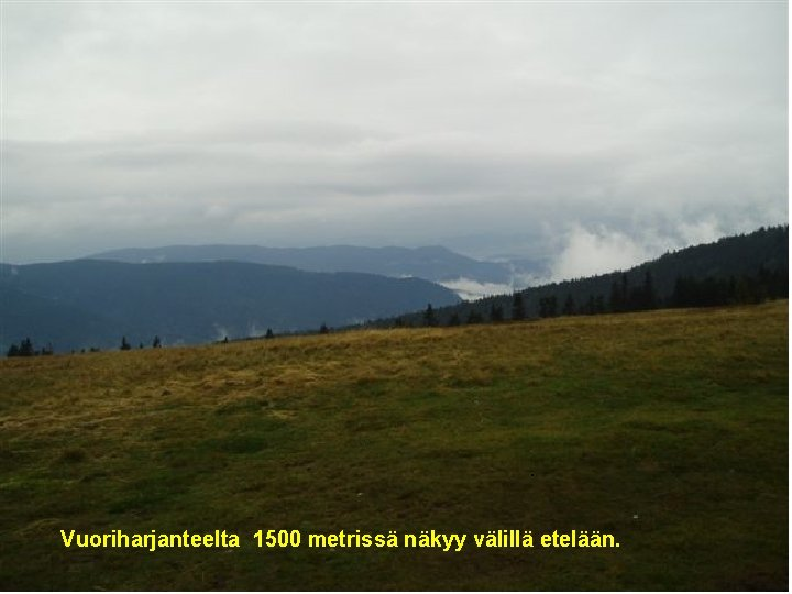 . Vuoriharjanteelta 1500 metrissä näkyy välillä etelään.