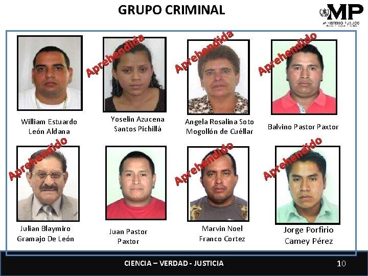 GRUPO CRIMINAL A William Estuardo León Aldana r p A e n e h