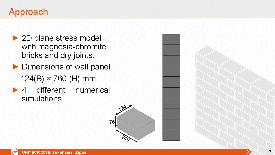 Approach ► 2 D plane stress model with magnesia-chromite bricks and dry joints. ►