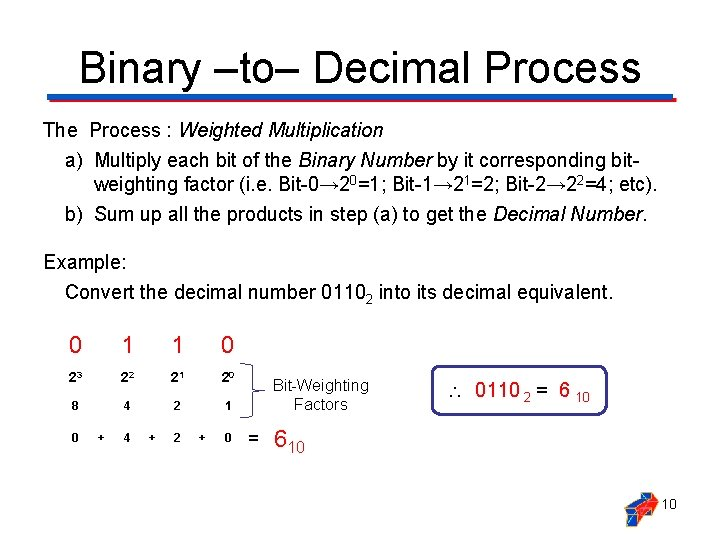 Binary ‒to‒ Decimal Process The Process : Weighted Multiplication a) Multiply each bit of