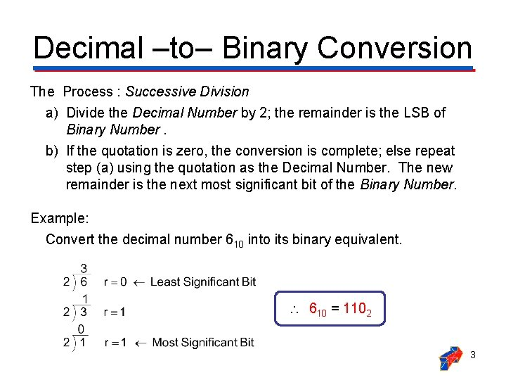 Decimal ‒to‒ Binary Conversion The Process : Successive Division a) Divide the Decimal Number