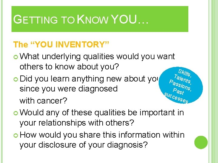 """GETTING TO KNOW YOU… The """"YOU INVENTORY"""" What underlying qualities would you want others"""