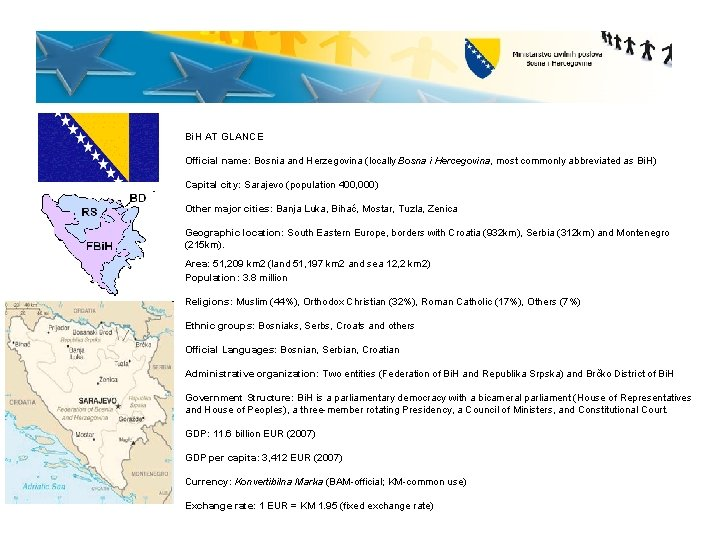 Bi. H AT GLANCE Official name: Bosnia and Herzegovina (locally Bosna i Hercegovina, most