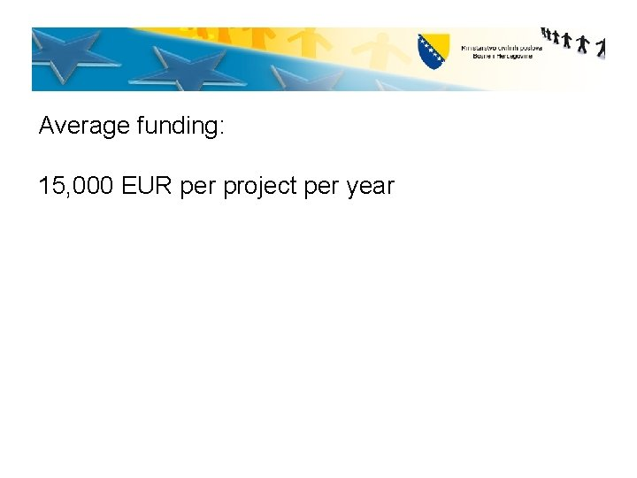 Average funding: 15, 000 EUR per project per year