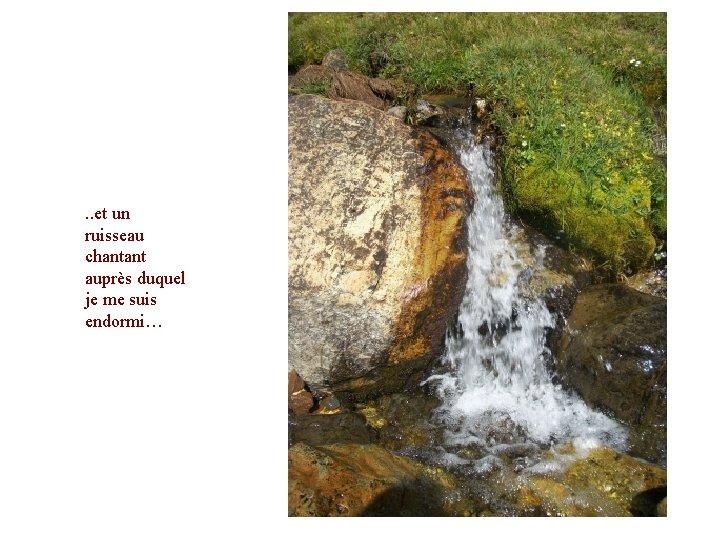 . . et un ruisseau chantant auprès duquel je me suis endormi…