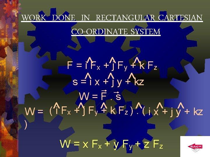 WORK DONE IN RECTANGULAR CARTESIAN CO-ORDINATE SYSTEM F = i^Fx +^j Fy +^k Fz
