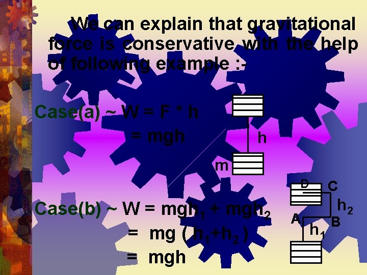 We can explain that gravitational force is conservative with the help of following example